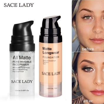 SACE LADY Face Primer Makeup Set Liquid Foundation Cream Waterproof Matte Base Make Up Natural Concealer Oil-control Cosmetic