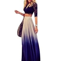 Gold Graceful Women's Ankle Length Gradient Skirt Size S Color Blue