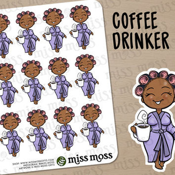 Brown Skin Coffee Drinker Robe Lazy Day Planner Stickers, African American Black - Erin Condren, Happy Planner, Kikki K, Filofax, Decorative