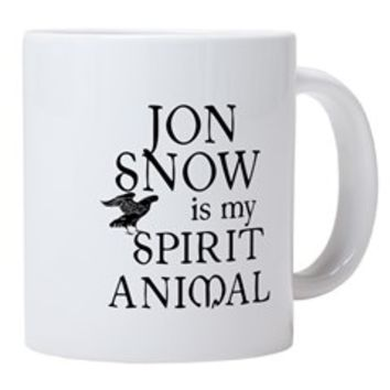 JON SNOW IS MY SPIRIT ANIMA 20 oz Ceramic Mega Mug> JON SNOW IS MY SPIRIT ANIMAL> Scarebaby Design