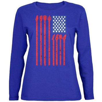 DCCKU3R 4th Of July Stars and Strings Guitar American Flag Womens Long Sleeve T Shirt