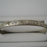 Alpaca Silver Hand Etched Stars Moons Bangle Bracelet Mexico 2.5 in