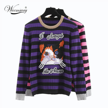 high quality 2017 new autumn cat embroidery Sweaters striped pullowers o-neck full sleeve rose knitting women WS-120