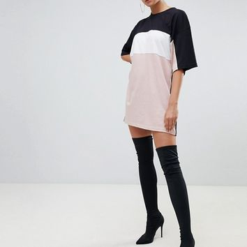 Missguided Color Block T-Shirt Dress at asos.com