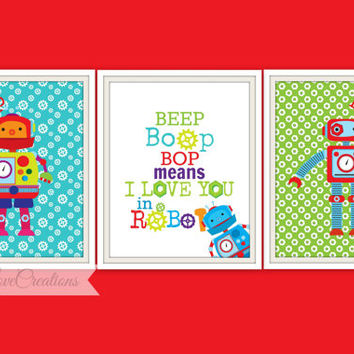 Robot Print Set - Beep Boop Bop means I love you in Robot Typography quote print // Print Art // Boy's Room Decor // Playroom // Nursery