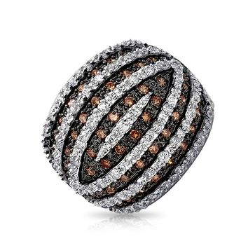 Tri Color Brown Black white CZ Banded Dome Ring Rhodium Plated Brass