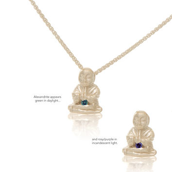 Sterling Silver Alexandrite Buddha Pendant Necklace Love Light Compassion Foundation Buddha Buddies