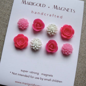 strong neodymium magnets set of 8 pink flowers by MarigoldHome
