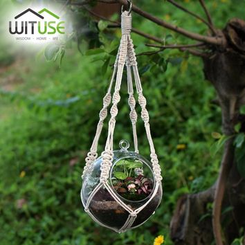 WITUSE Vintage Plant Hanger Flowerpot Holder Basket With Hoop Macrame Hanging Rope 4Legs Hook Suit for Decorating Balcony Garden