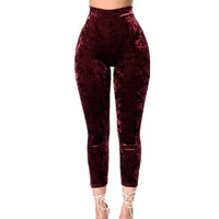 High Waist Pants 2017 Spring Women Wine Red Velvet Pant Elestic Skinny Trousers Casual Calf-Leather Push Up Stretch Tight Pants