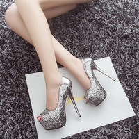 Sexy sequins waterproof platform heels