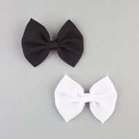 Full Tilt 2 Piece Chiffon Bow Hair Clips Black/White One Size For Women 22951812501