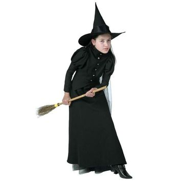 DCCKH6B Deluxe Child New Proper Style Witch Costume High Quality Sorceress Fancy Dress For Spooky Halloween Parties