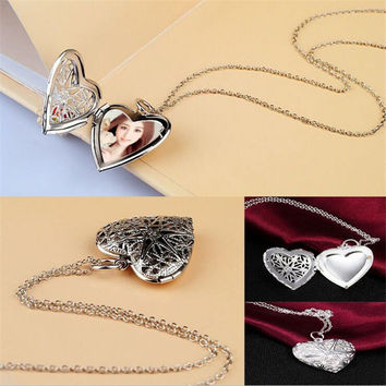 New design high quality fashion Open silver photo frame jewelry Gold Hollow out heart Locket Pendant Necklace