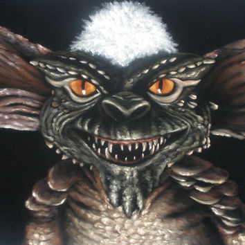 Gremlins movie villain Stripe Mohawk black velvet original oil painting handpainted signed art