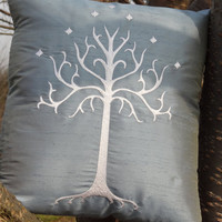 Lord of the Rings (LOTR) White Tree of Gondor embroidered throw pillow - 14x14 - silk dupioni
