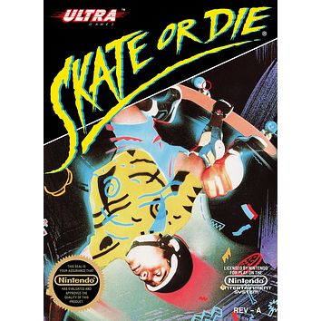 Retro Skate or Die Game Poster//NES Game Poster//Video Game Poster//Vintage Game Reprint