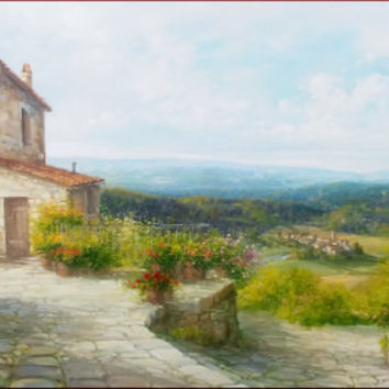 Big Italian painting quiet vallet Tuscany panorama original oil on canvas of Antonietta Varallo Italia Italy Toscana