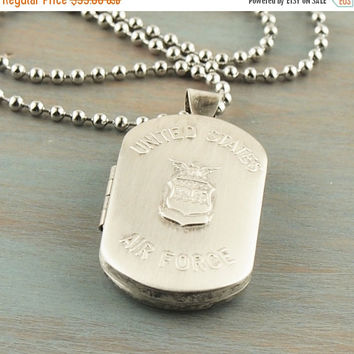 On Sale Air Force Photo Locket Sterling Silver United States Military Pendant Dog Tag Style Veteran Gift For Him For Her