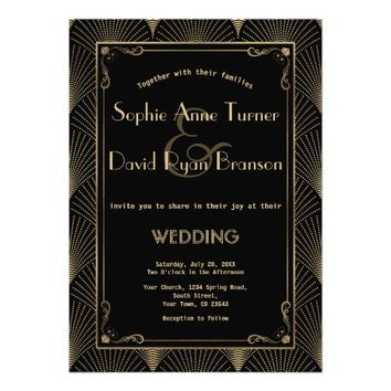 Vintage Art Deco Great Gatsby Wedding Invitation