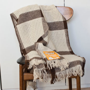 Vintage Faribault Plaid Wool Blanket, Faribo County Fair Striped Brown White Throw with Fringe, Stadium Blanket, Winter Cabin Decor (TAGS)