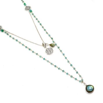 Apatite Rosary Chain and Labradorite Pendant Sterling Silver Necklace