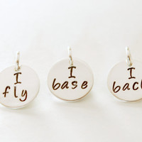 Personalized Cheerleading Charm I Fly I Base Hand Stamped Sterling Silver