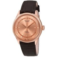 Rolex Cellini Pink Gold Diamond 18K Everose Gold Mens Watch 50605RBR