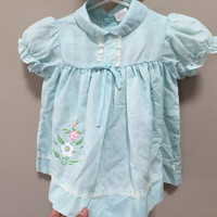 Vintage Baby Dress, Pretty Blue Dress Baby Vintage Dress Short Sleeve Baby Blouse Light Blue Baby Girl Vintage Toddler 12m 18m baby layette