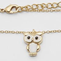 Rose Gold Shell Owl Pendant Necklace