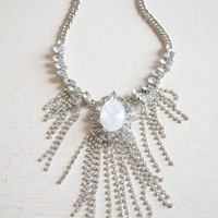 Silver Opal Fringe Necklace
