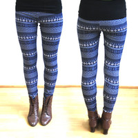 leggings with Norwegian design - blue