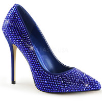 "Amuse 20RS Royal Blue Satin Single Sole Pump Cover In Rhinestones - 5"" Heels"