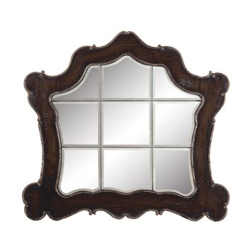 Ornate Heritage Beveled Mirror Heritage Grey Stain,Textured Champagne