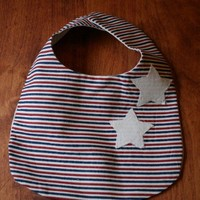 baby bib red, white and blue with stars | rocksntwigs - Children's on ArtFire