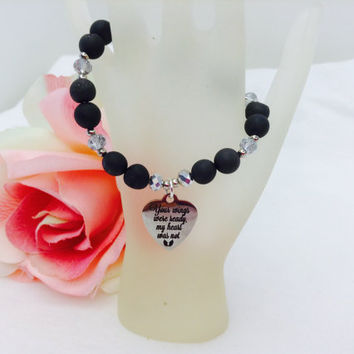 Memorial Jewelry, Black Druzy, Charm Bracelet, Heart Charm, Remembrance Gift, Sympathy Gift, In Loving Memory, Quote Bracelet, Natural Stone