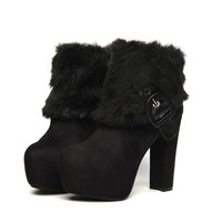 Warm Fluffy Fur Decorated Strapped Platform Heeled Ankle Booties 2 Colors
