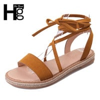 HEE GRAND Fashion Gladiator Women's Sandals Open Toe Cross Tied Flat Platform Casual Student Shoes for Woman XWZ4148