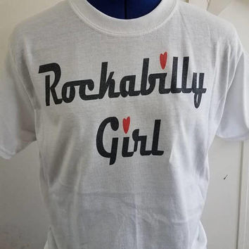Rockabilly - shirt -Pinup - girl - pin - up - rockabilly - girl - ladies - t - shirt - short - sleeve - pinup - shirt