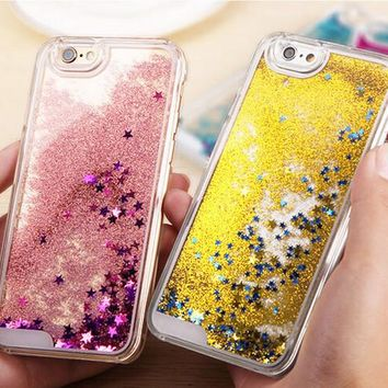 Shining Slide Quicksand Case Cover for iPhone X8 Plus & iPhone 6s 7 Plus + Gift Box