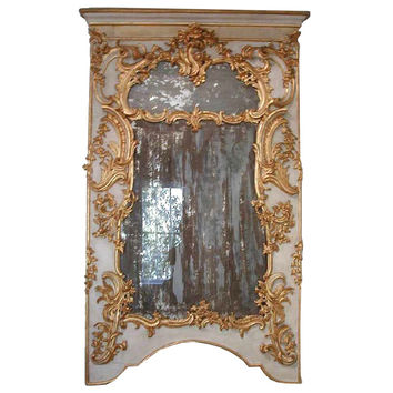 Pair of painted and gilded wood mirrors