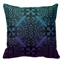 Teal Black And Purple Pattern Pillows