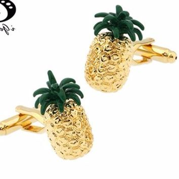 Fun Gold Tone Pineapple Fruit Cuff Links