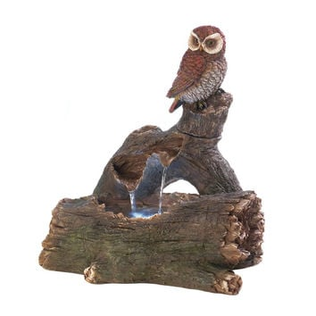 Owl Perch Outdoor Water Fountain