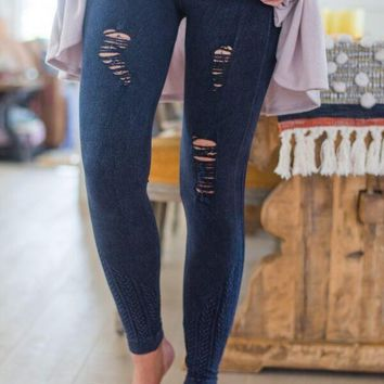 Moto Distressed Jeggings
