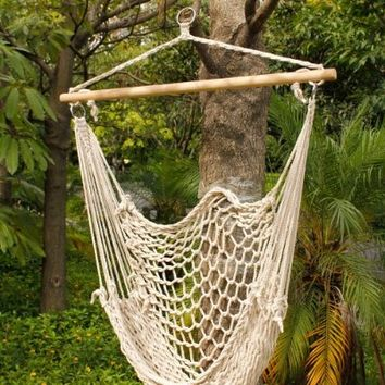 Z ZTDM Swing Hanging Hammock Chair Cradle Rope Cotton Hanging Rope Wood Stretcher Hammocks Air/sky Chair Swing Beige