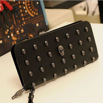 2017 Rushed Designer Wallets Famous Brand Women Wallet Leather Men Wallets Punk Skull Clutch Purses Card Holders Carteira Purse