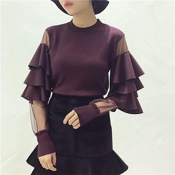 [ALPHALMODA] Autumn Winter Women's Ruffled Gauze Patched Sleeve Pullover Cute Sweaters Ladies Designer Fashion Jumper