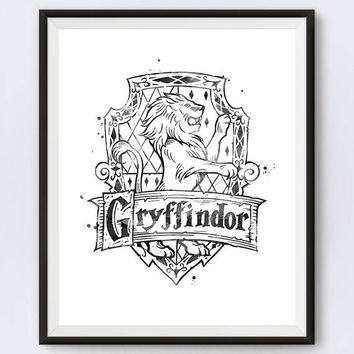 Gryffindor Crest Black and White Harry Potter Gifts Hogwarts Slytherin Printable Niffler illustration Gryffindor Wall Art Digital Download