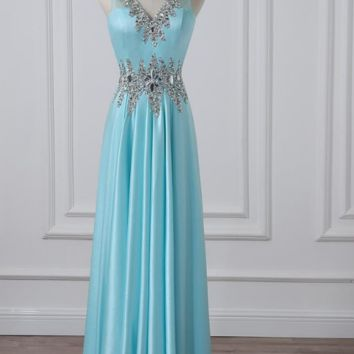 Sexy Prom Dresses V-neck Sleeveless Beaded Crystal Stones Formal Evening Dress Party Gowns